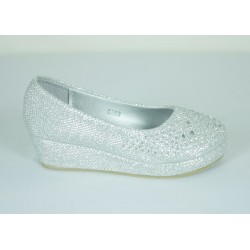 G398 Girls Sparkling Wedged Shoe
