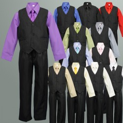 TT9D Pinstripe Vest Suit Coloured Shirt