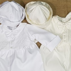 Boys Christening Romper with Cross Embroidery