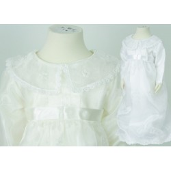 White Ivory Baby Girls Christening Gown