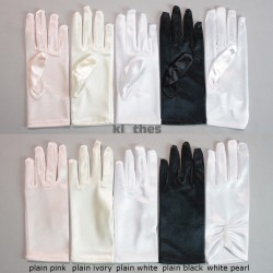 Girls Plain Satin Gloves