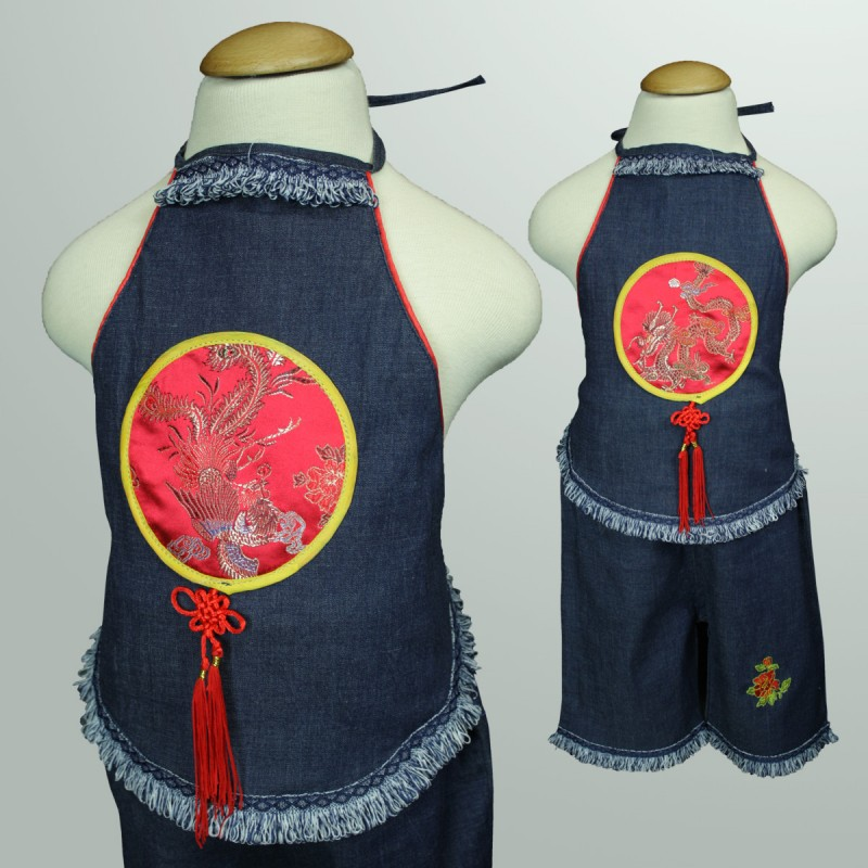 8477e63aadf C066 C067 Girls Dragon Phoenix Chinese Dudou Denim Set