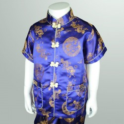 Blue Chinese Oriental Boys 2 Piece Set