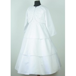 Girls White Communion Flowergirl Dress with bolero
