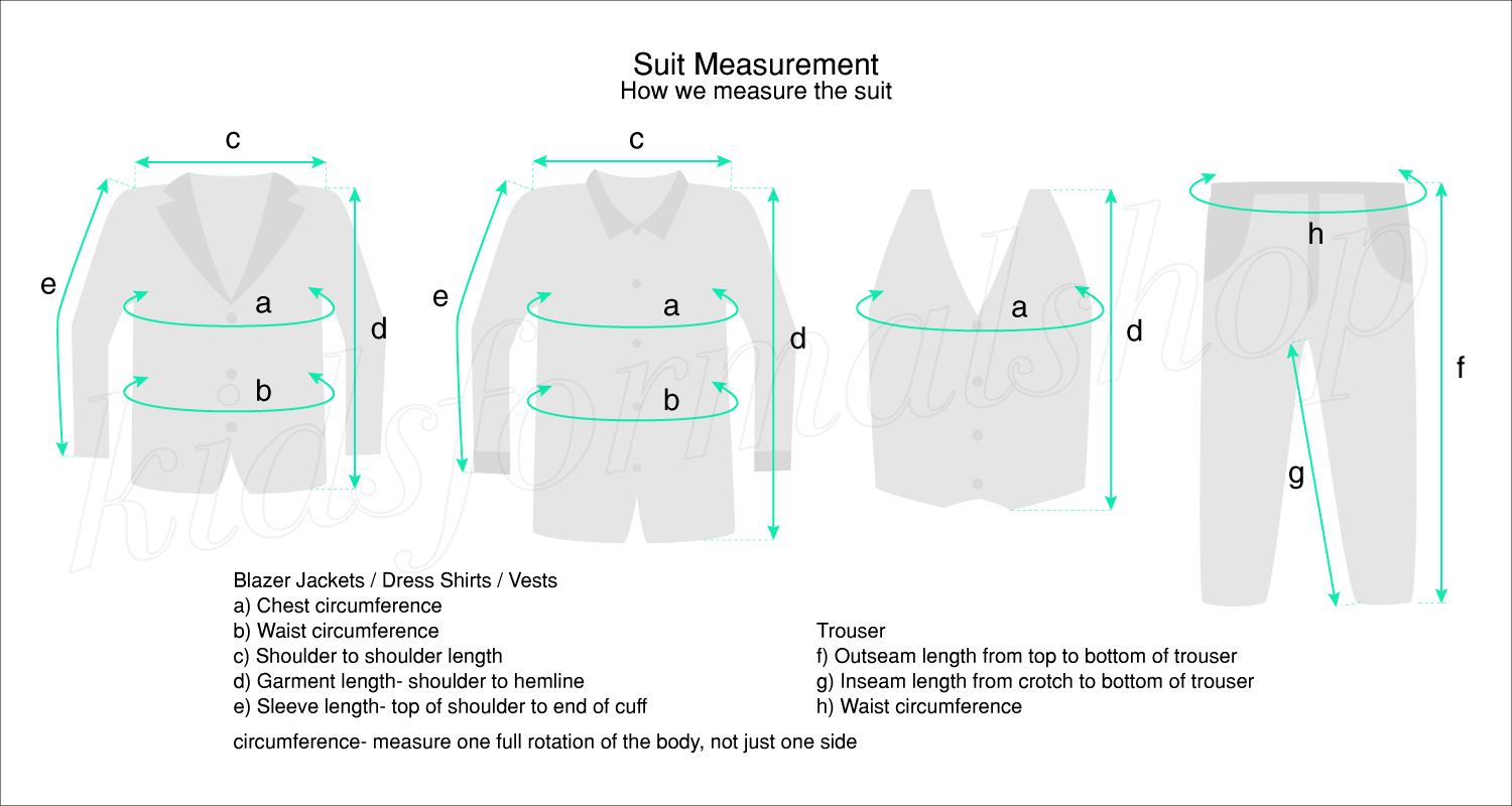 measurement diagram boys suit